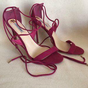 Cape Robbing Pink Velvet High Heels